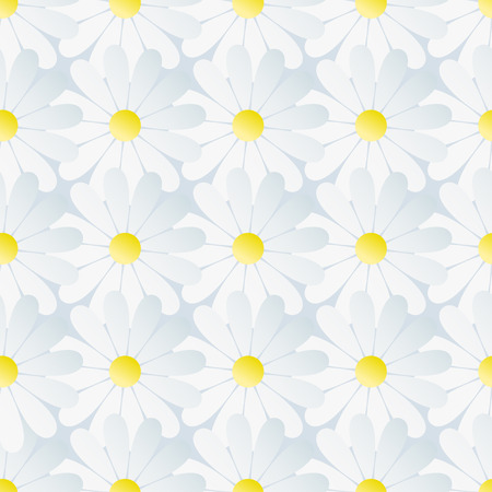 chamomiles: Beautiful spring background seamless pattern with white flowers chamomiles. Floral trendy stylish wallpaper. Romantic light nature background. Vector illustration