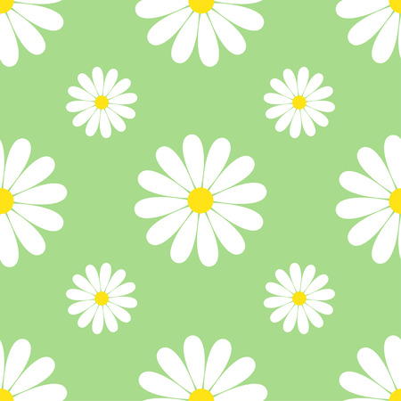 Beautiful spring green background seamless pattern with white flowers chamomiles. Floral trendy stylish wallpaper. Vintage nature background. Vector illustration Vector