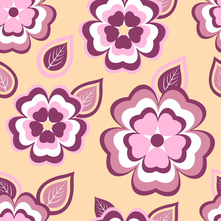 modern wallpaper: Beautiful stylish seamless pattern with stylized pink and red sakura blossom  japanese cherry tree and leaves. Nature background with spring flowers. Floral trendy modern wallpaper. Greeting or invitation card. Vector illustration