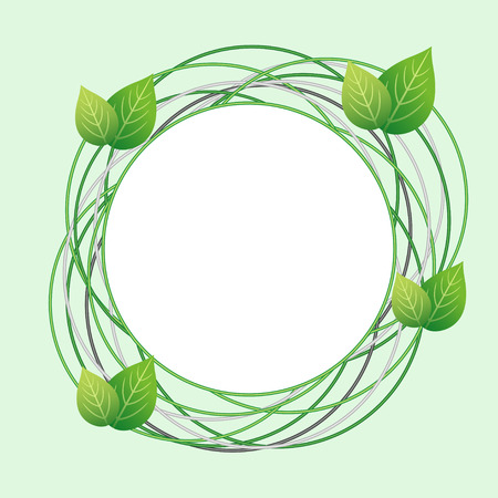 Creative Eco frame with circles and fresh green leaves. Abstract modern stylish background with place for text. Vector illustration Vector