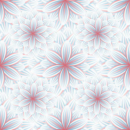 Beautiful trendy nature background seamless pattern with blue  red summer flower chrysanthemum. Floral modern colorful wallpaper. Stylish light greeting or invitation card. Vector illustration Vector