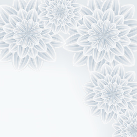 dalia: Fondo elegante moda floral con blanco gris estilizadas flores de crisantemo. Hermoso fondo de pantalla moderna con estilo. Saludo o tarjeta de invitación para eventos de cumpleaños de la boda y de la vida. Ilustración vectorial