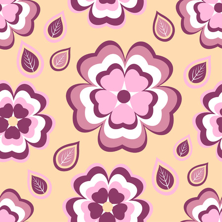 Beautiful stylish seamless pattern orange with stylized pink and red sakura blossom  japanese cherry tree and leaves. Nature background with spring flowers. Floral trendy modern wallpaper. Vector illustration Vector