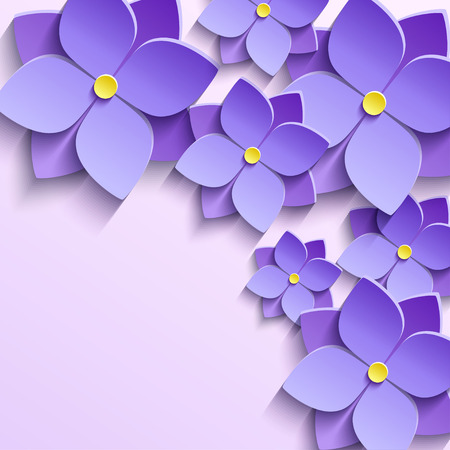 life events: Floral trendy creative background with stylized purple summer 3d flowers violets. Beautiful stylish modern wallpaper. Greeting or invitation card for wedding, birthday and life events. Vector illustration