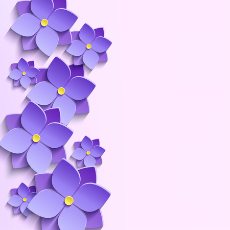 Floral trendy creative background with stylized purple summer 3d flowers violets. Beautiful stylish modern wallpaper. Greeting or invitation card for wedding, birthday, place for text. Vector illustration