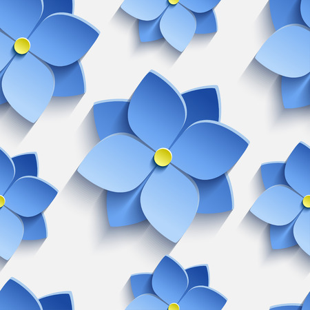 festive pattern: Beautiful trendy nature background seamless pattern with blue stylized summer 3d flowers violets. Floral stylish modern wallpaper. Greeting or invitation card. Vector illustration