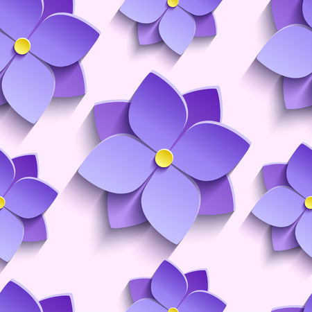 modern wallpaper: Beautiful trendy nature background seamless pattern with purple stylized summer 3d flowers violets. Floral stylish modern wallpaper. Greeting or invitation card. Vector illustration