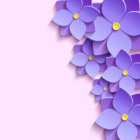 Beautiful modern creative background with stylized purple summer 3d flowers violets. Floral stylish trendy wallpaper. Greeting or invitation card for wedding birthday life events. Vector illustration