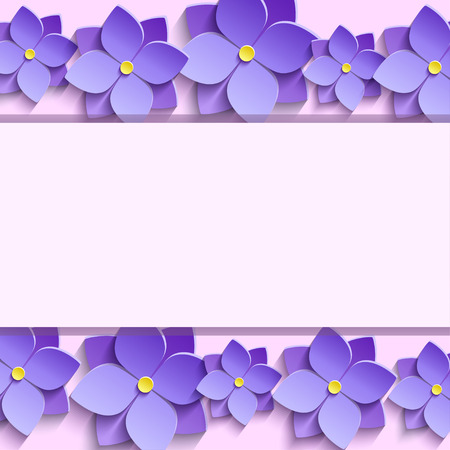 Festive rectangular frame with purple summer 3d flowers violets. Floral creative trendy background. Beautiful stylish modern wallpaper. Greeting or invitation card for wedding birthday place for text. Vector illustration