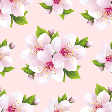 Beautiful light background seamless pattern with white sakura blossom  japanese cherry tree. Floral spring pink  purple wallpaper. Vector illustration 일러스트