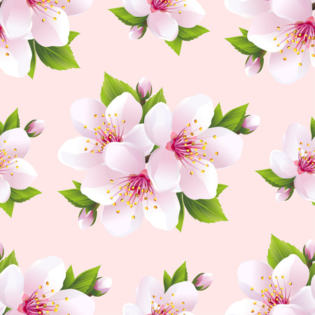 Beautiful light background seamless pattern with white sakura blossom  japanese cherry tree. Floral spring pink  purple wallpaper. Vector illustration Ilustracja