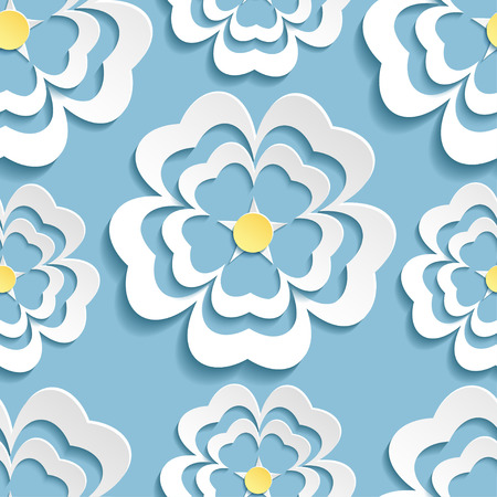 Beautiful modern nature background seamless pattern blue whith white ornate stylized blossoming 3d flower sakura japanese cherry tree. Floral stylish trendy wallpaper. Greeting or invitation card. Vector illustration Vector