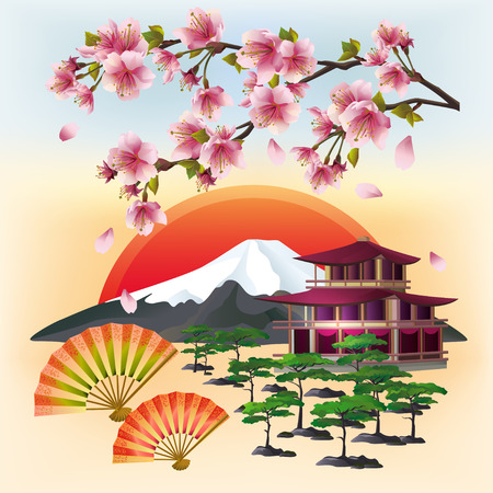chinese pagoda: Japanese background with sakura blossom Japanese cherry tree with flying petals two fans bonsai pagoda mountain rising red sun symbol of oriental culture. Beautiful Japanese landscape. Stylish abstract wallpaper. Vector illustration.