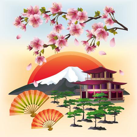 Sunset landscape vector: Nền Nhật Bản với sakura hoa cây anh đào Nhật Bản với những cánh hoa bay hai người hâm mộ bonsai núi chùa dâng biểu tượng mặt trời đỏ của văn hóa phương Đông. Cảnh quan tuyệt đẹp của Nhật Bản. Stylish hình nền trừu tượng. Vector hình minh họa.