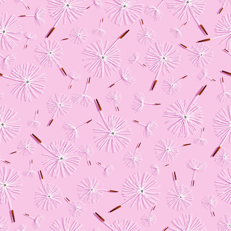 fluff: Beautiful nature background seamless pattern light pink with white flower dandelion fluff. Floral seamless pattern with spring or summer flowers. Stylish romantic trendy wallpaper. Vector illustration Illustration