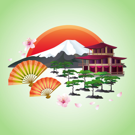 Beautiful Japanese background with sakura blossom Japanese cherry tree with flying petals fans bonsai pagoda mountain red rising sun symbol of oriental culture isolated over green. Japanese landscape. Stylish abstract wallpaper. Vector illustration.