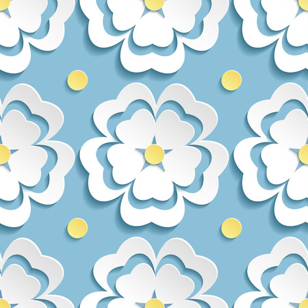 Beautiful modern nature background seamless pattern blue with white ornate stylized blossoming 3d flower sakura japanese cherry tree and yellow circles. Floral stylish trendy wallpaper. Greeting or invitation card. Vector illustration Vector