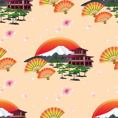 Beautiful golden background seamless pattern with blossoming pink sakura japanese cherry tree and flying petals landscape two fans and traditional japanese house. Floral spring wallpaper. Graphic design. Vector illustration