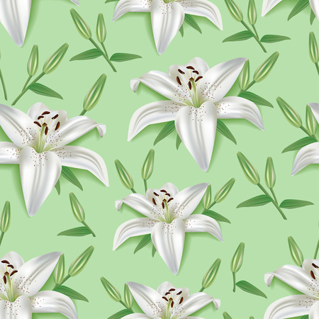 Beautiful trendy green nature background seamless pattern with white summer 3d flowers lilies leaves buds. Elegant floral stylish modern wallpaper. Greeting or invitation card. Vector illustration