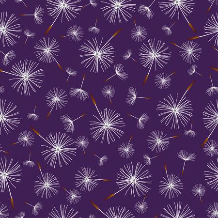 blowing: Beautiful nature background seamless pattern dark blue with white flower dandelion fluff. Floral seamless pattern with summer or spring flowers. Stylish romantic trendy wallpaper. Vector illustration