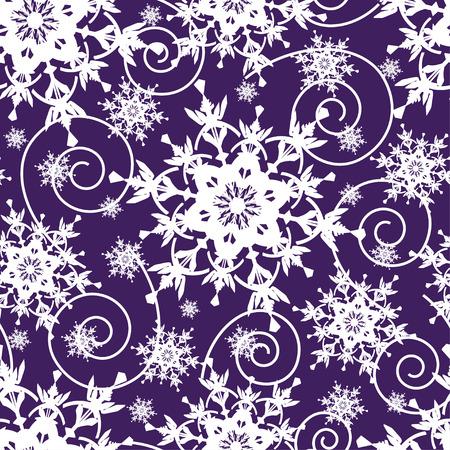 ornate swirls: Beautiful bright dark blue background seamless pattern with white ornate stylized snowflakes and swirls