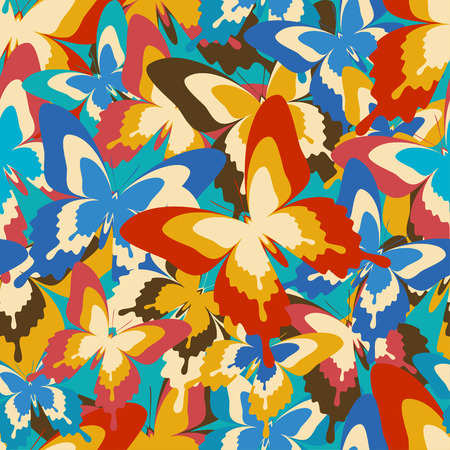 Beautiful colorful background seamless pattern with flying blue, red, orange, brown butterflies in vintage or retro style