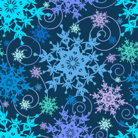 winter window: Beautiful bright dark blue background seamless pattern with colorful ornate snowflakes and swirls