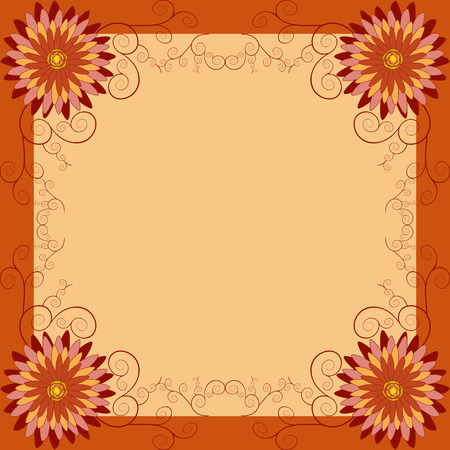 flower age: Background with orange, red, yellow flower chrysanthemum and swirls. Beautiful floral golden wallpaper