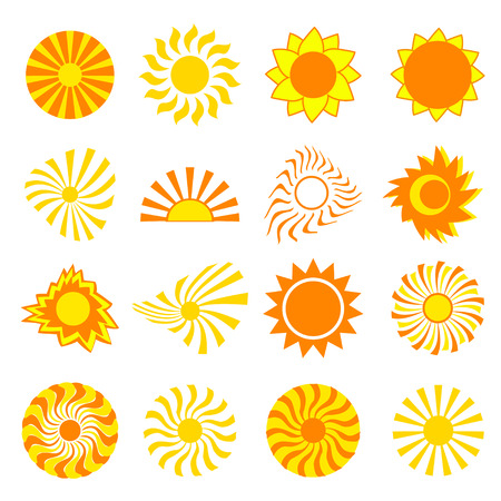 design objects: Big set of different stylized yellow, orange and red sun isolated on white background. Elements of design, objects for icons, emblems . Vector illustration