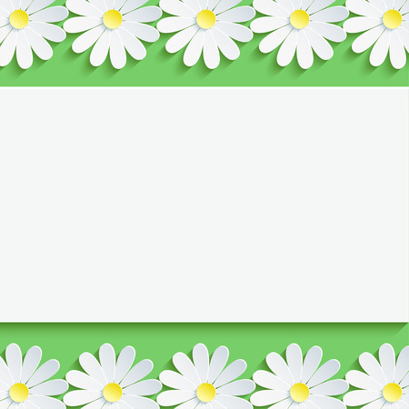 Stylish floral background, 3d flowers chamomiles. Abstract trendy spring or summer background with sheet of paper - place for text. Rectangular frame. Modern creative wallpaper. Vector illustration