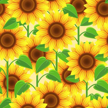 sunflowers: Beautiful bright nature background seamless pattern yellow, orange with sunflowers. Floral seamless pattern with stylized summer flowers and leaves. Trendy romantic stylish wallpaper. Vector illustration Illustration