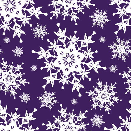 winter wallpaper: Beautiful dark blue background seamless pattern with white ornate stylized snowflakes. Seasonal winter festive seamless wallpaper for New Year and Christmas.  Vector illustration.