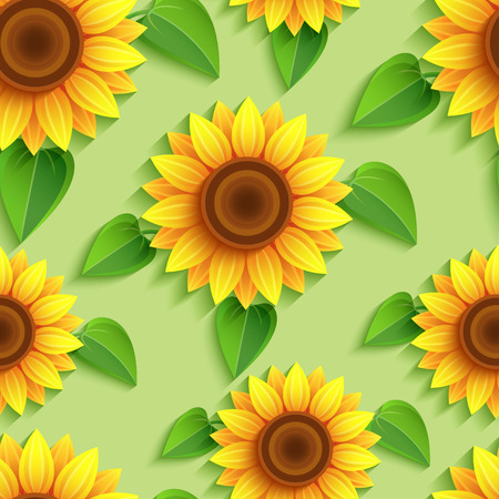 Beautiful nature background seamless pattern with 3d sunflowers. Floral modern backdrop with orange, yellow summer flower and leaves. Bright stylish trendy wallpaper. Greeting, invitation card. Vector illustration