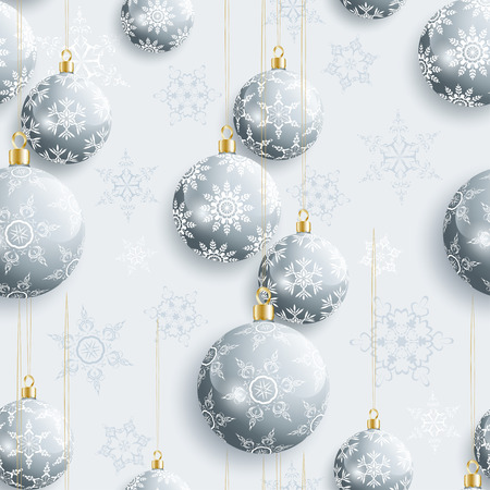 winter stylized: Beautiful grey background seamless pattern with Christmas balls and white, gray ornate stylized snowflakes. Seasonal winter festive seamless wallpaper for New Year and Christmas. Greeting or invitation card. Vector illustration.