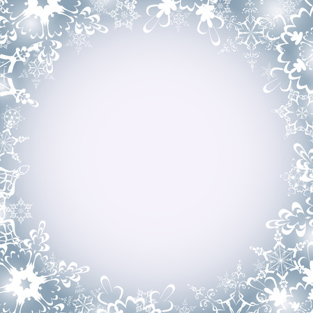white wallpaper: Beautiful winter luxury festive round frame with white ornate snowflakes. Christmas and New Year celebratory card with place for text. Stylish celebratory grey - white wallpaper. Vector illustration