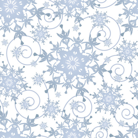 winter stylized: Beautiful winter white background seamless pattern with grey, blue ornate stylized snowflakes and swirls. Seasonal light festive seamless wallpaper for New Year and Christmas. Vector illustration. Illustration
