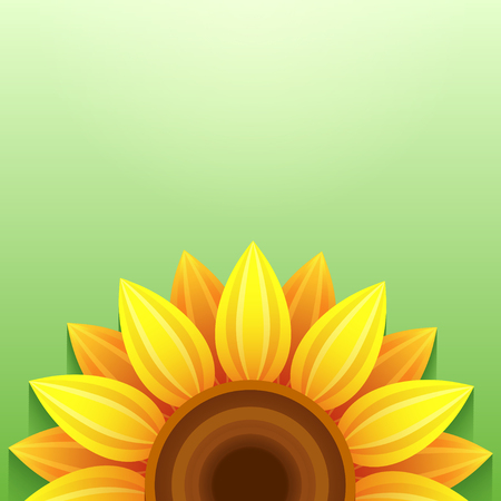 Stylish green background with stylized 3d sunflower, place for text. Floral backdrop with yellow, orange summer flower. Bright green trendy wallpaper. Greeting, invitation card. Vector illustration