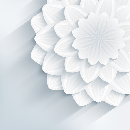 greeting stylized: Floral trendy creative background with white and gray stylized 3d flower. Beautiful stylish modern wallpaper. Greeting or invitation card for wedding, birthday and life events. Vector illustration