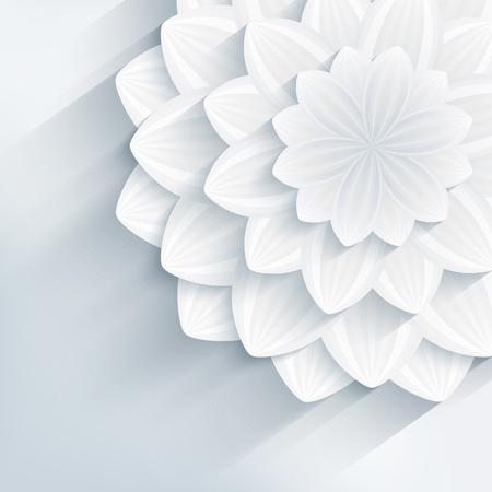 Fondo creativo de moda floral con blanco y gris estilizada flor 3d. Hermoso fondo de pantalla moderna con estilo. Saludo o tarjeta de invitación para eventos de bodas, cumpleaños y de la vida. Ilustración vectorial Ilustración de vector
