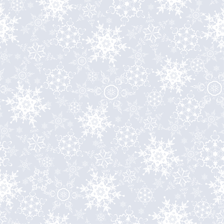 Beautiful festive grey background seamless pattern with white stylized ornate snowflakes. Luxury seasonal winter seamless wallpaper for New Year and Christmas. Vector illustration. Ilustracja