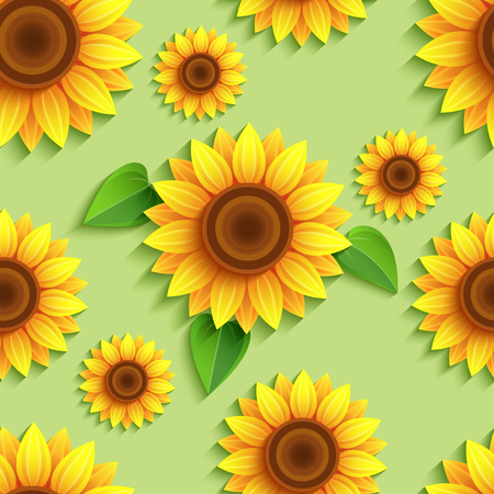 Beautiful nature green background seamless pattern with 3d sunflowers. Floral trendy backdrop with orange, yellow summer flower and leaves. Bright stylish modern wallpaper. Greeting, invitation card. Vector illustration Ilustracja