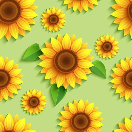 Sun flower: Schöne Natur grünem Hintergrund nahtlose Muster mit 3D-Sonnenblumen. Floral trendige Kulisse mit orange, gelb Sommer Blumen und Blätter. Helle stilvolle moderne Tapeten. Gruß, Einladungskarte. Vektor-Illustration Illustration