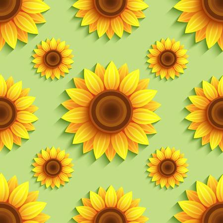 自然の緑は、様式化された 3 d ヒマワリとシームレスなパターンを背景します。オレンジ色、黄色の夏の花で花のトレンディな背景。明るいスタイリ