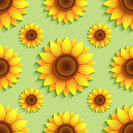 Nature green background seamless pattern with stylized 3d sunflowers. Floral trendy backdrop with orange, yellow summer flowers. Bright stylish modern wallpaper. Greeting, invitation card. Vector illustration Ilustracja