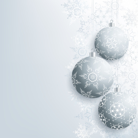 winter stylized: Beautiful background with gray Christmas balls and grey, white ornate stylized snowflakes. Stylish winter festive wallpaper for New Year and Christmas. Greeting or invitation card. Vector illustration.