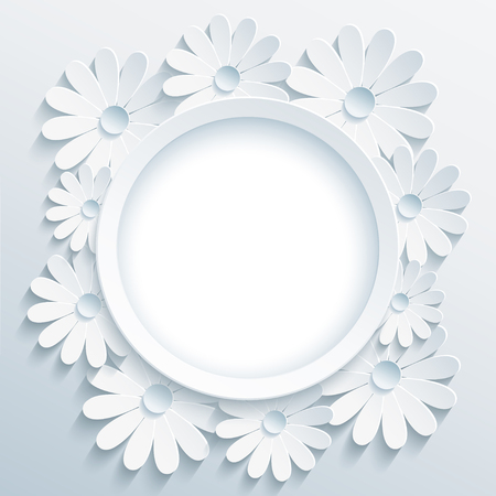 Beautiful trendy grey round frame with white 3d flower chamomile. Greeting or invitation card with creative stylized flower. Floral stylish modern background, place for text. Vector illustration 일러스트