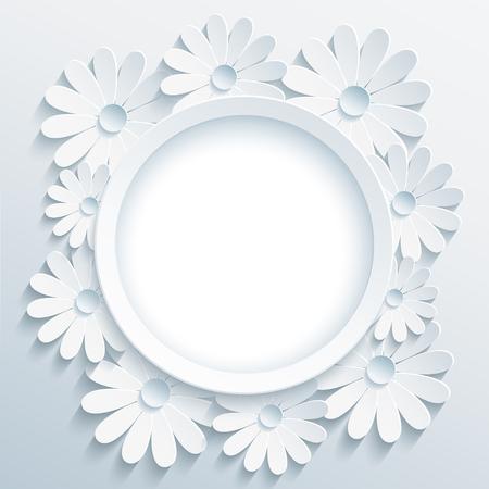 flores de cumpleaños: marco gris de moda hermosa redondo con blanco de la flor de manzanilla 3d. Saludo o tarjeta de invitación con la flor estilizada creativa. Fondo moderno elegante floral, el lugar de texto. ilustración vectorial