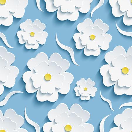 flor de sakura: Hermoso de moda romántica de fondo festiva modelo inconsútil azul con blanco florecimiento 3d flor de sakura - cerezo japonés y las olas decorativas. Papel pintado moderno estilo floral. Ilustración vectorial Vectores