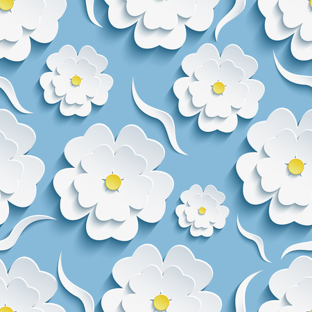 Beautiful trendy romantic festive background seamless pattern blue with white blossoming 3d flower sakura - japanese cherry tree and decorative waves. Floral stylish modern wallpaper. Vector illustration