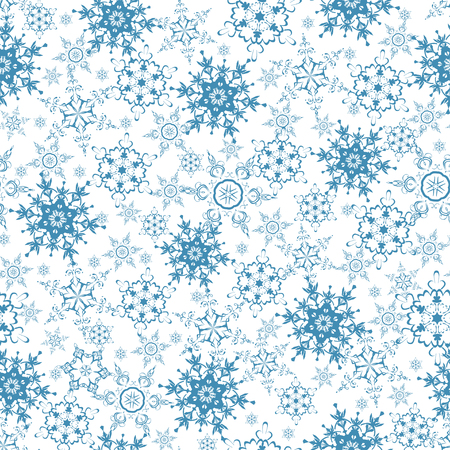 winter snow: Beautiful festive white background seamless pattern with blue stylized ornate snowflakes. Luxury winter seamless wallpaper for New Year and Christmas. Stylish backdrop. Vector illustration.